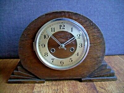 Antique 1930's Mauthe Oak Art Deco Mantel Clock with Chime (Time Stepped Sides)