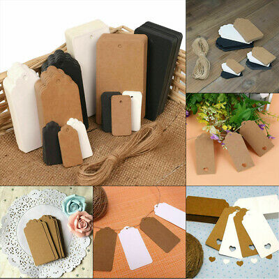 50/100x Kraft Paper Gift Tags Scallop Label Scallop Blank Wedding Luggage String