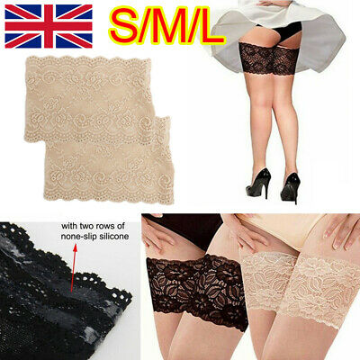 PAIR Elastic Lace Thigh Bands Anti Chafing Non Slip Leg Sock Prevent Abrasion