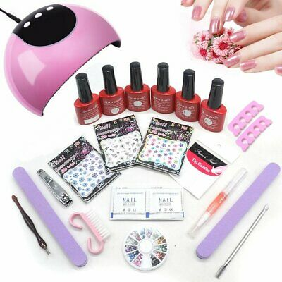 NEW Kit Complete Starter 24W UV LED Lamp Light Gel Nail Polish Set Top Base