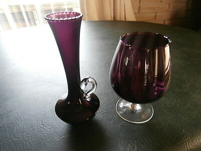 Two Purple Glass Decorative Tall Vase 21Cm & Large Drinking / Brandy Glass 17Cm