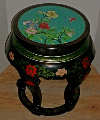 VINTAGE CHINESE BLACK LACQUERED WOOD TABORET with INSET CLOISONNE ENAMEL TOP