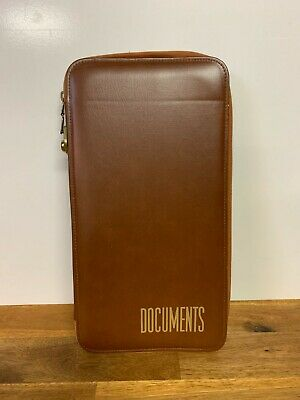 Vintage Artex PVC Brown Zip Up Documents File Folder Australia