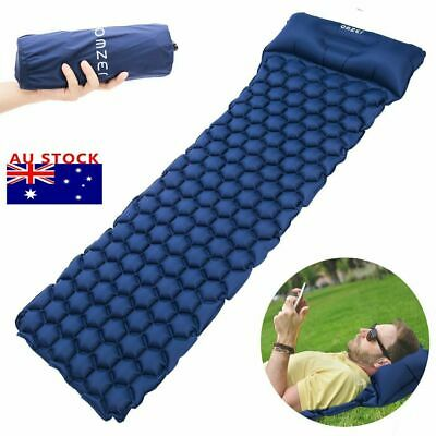 Ultralight Inflatable Camping Hiking Sleep Mattress AirBed Sleeping Mat Pillow