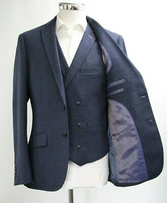 Men's Unbranded Checked Blazer & Waistcoat Set in Navy Blue (40R)..Sample 5301