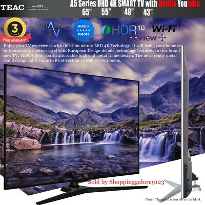 "TEAC 65"" Inch 4K UHD SMART TV Netflix Youtube HDR Made in Europe 3 Year warranty"