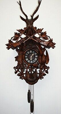 Antique Black Forest Huge (45.5) Cuckoo Hunt Wall Clock