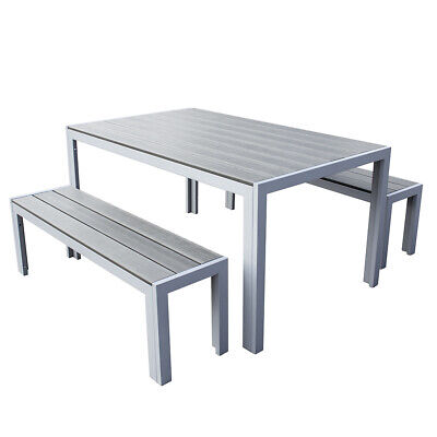 Groovy Polywood Grey Outdoor Garden Bench With Aluminium Frame Unemploymentrelief Wooden Chair Designs For Living Room Unemploymentrelieforg
