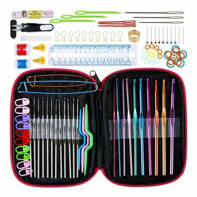 100pcs Crochet Hooks Set Knitting Tool Accessories with Leather Case R3L8