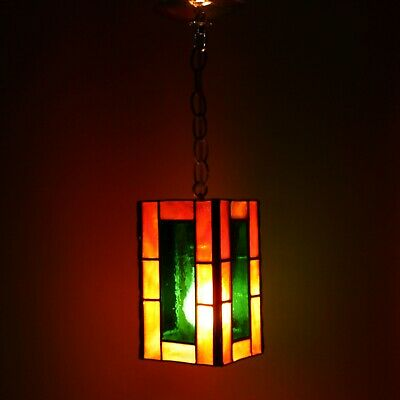 "Vtg 8"" Stained Glass Slag Shade Pendant Hanging Lamp Ceiling Light Pull Chain"