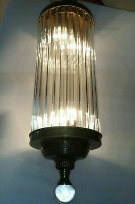 Antique Vintage Art Deco Brass Glass Ceiling Fixture Chandelier Ship Light Lamp