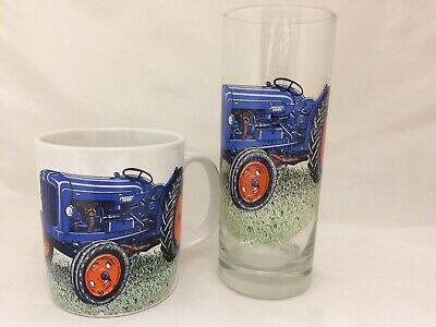 FORDSON  MUG AND MATCHING  TALL HIGHBALL GLASS WITH 6 DIFFERENT TRACTORS ON