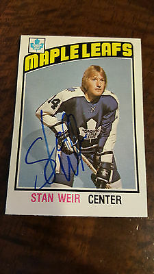 1976-77 Opc Signed Card Stan Weir Maple Leafs Golden Seals Oilers Red Wings 270
