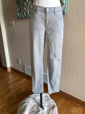 Eileen Fisher Women's 6 Light Gray Wash Slim Skinny Stretch Jeans Ankle Pants