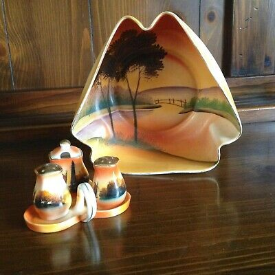 Vintage Meito China Scenic Bowl plus 4 pc.  Condiment Set Hand Painted Japan