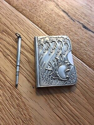Antike Ballspende 800 Silber ~1890 Block Notizblock Jugendstil inkl. Stift