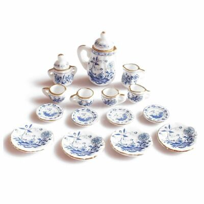 1/12th Dining Ware China Ceramic Tea Set Dolls House Miniatures Blue Flower U7J9