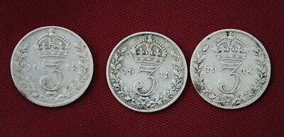 Three (3) GEORGE V 1912 / 1913 / 1914 SILVER THREEPENCE COINS. V.Good Cond
