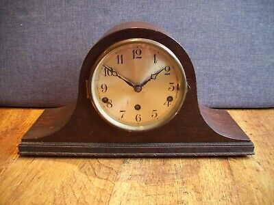 Antique 1930's Oak Napoleon's Hat Shaped Mantel Clock with Westminster Chime Key