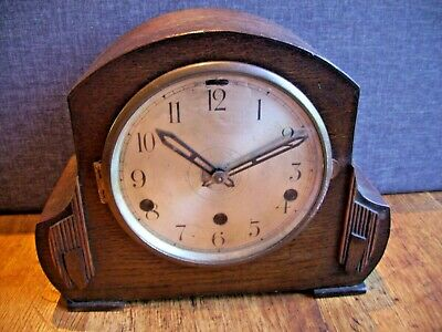 Antique 1930's German Oak Mantel Clock with Westminster Chime (with Pendulum)