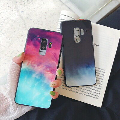 Gradient Color Tempered GLASS BACK Case For Samsung Galaxy S10e S10 S9 S8 Plus