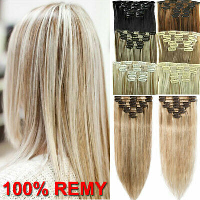 "Black Brown Blonde 100% Real Remy Clip in Human Hair Extensions Full Head 20"" UK"