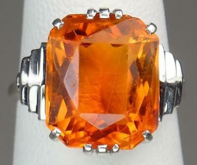 Pretty Antique Art Deco 18K White Gold Platinum 8Ct Citrine Cocktail Ring Sz 5.5