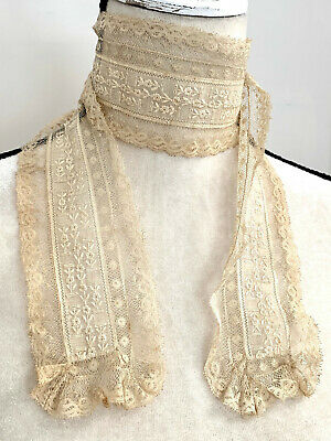 Antique Victorian French Hand Embroidered & Laced Trousseau Scarf