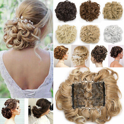 UK Real THICK Curly Chignon Messy Bun Updo Clip in Hair Piece Natural Extensions