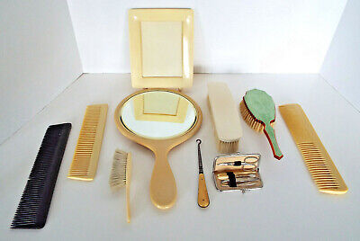 Vintage Dresser Set 10 Brushes Combs Mirrors Frame Manicure Kit Austria France