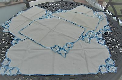 Vintage 7 Piece Embroidered  Linen Place Mats and Runner Set