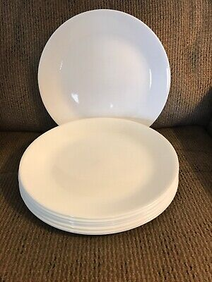 "Eight (8) Corelle Winter Frost White 10 1/4"" Dinner Plates"