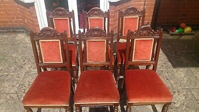 6 Victorian Oak Antique Dining Chairs