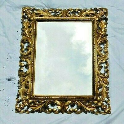 Antique 18-19th Century French Rococo Carved Gilt Wood Mirror Gold Leaf Frame