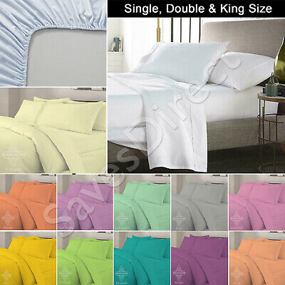 Plain Dyed PolyCotton Fitted Bed Sheet Single Double King With Pillow Cases Set