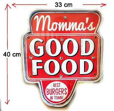 Momma's Good Food Burgers. Hot Food Deli Coffee Shop Light Up Sign Large 40X33Cm