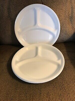 "Four (4) Corelle Winter Frost White 10 1/4"" Divided Dinner Plates"