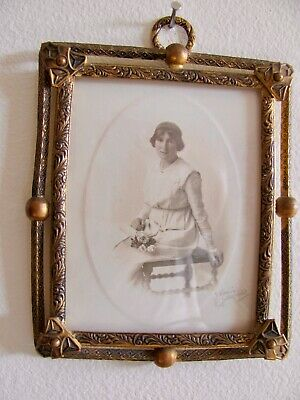 Antique Small Brass Convex Glass Lady Portrait Picture Frame
