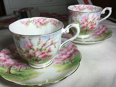2 Royal Albert Crown China Cup/Saucer England     #799933  Blossom Time Pattern