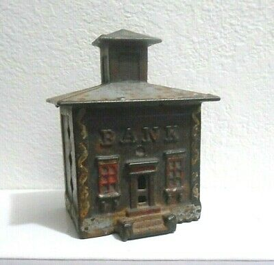 Antique Cast Iron Still Coin Bank Some Paint Cute Small Town Bank Building