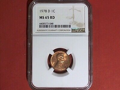 👉 1978 D Lincoln Memorial Cent Ngc Ms 65 Rd 1 Cents Penny Coin From Us Mint 👈