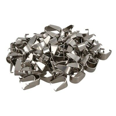 100 Pcs Stainless Steel Pendant Pinch Bail Clasps Silver Tone 9.7mmx9.0mm Y3A2