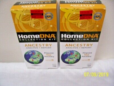 2 New! Home DNA Collection Kits - Ancestry - Analysis & Report! FREE Shipping!