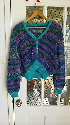 Vintage 90's hand knit Looping Striped cropped Festival cardigan S-M-L
