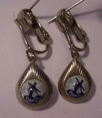 """Vintage Delft-Dutch Windmill-Clip on Dangle Style Earrings Small-5/8"""""""