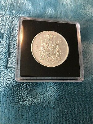 1965 Canada Silver Fifty Cent Coin UNC In Square Capsule