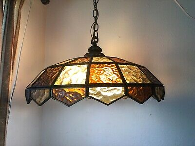 Mid Century Vintage Tiffany Style Amber Glass Hanging Light 4 bulb FREE SHIPPING