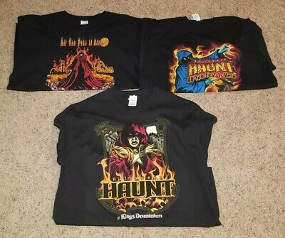 f17a0f056341 Vintage Lot of (3) Kings Dominion HALLOWEEN HAUNT T-Shirts XL Black Horror