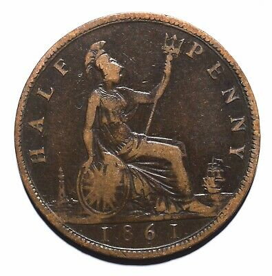 1861 UK Half ½ Penny - Victoria 2nd portrait