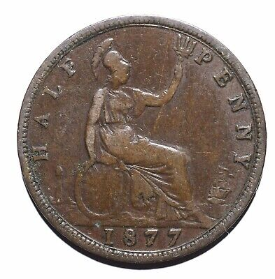 1877 United Kingdom (UK) half ½ Penny - Victoria 2nd portrait